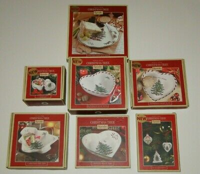 Spode Christmas Tree Appetizer Plate~Peppermint Heart Box~Plate~Dish~Bowl