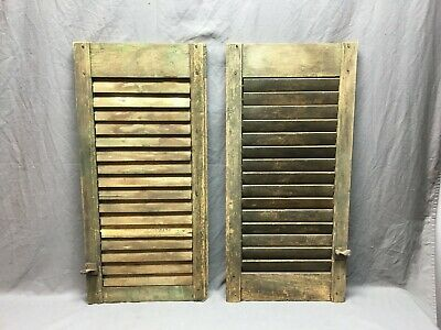 Two Small Weathered Antique House Window  Louvered Shutters 15x33  Vtg 285-19J
