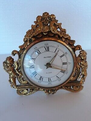"""Vintage Globe Alarm Clock Gold Giilt With Cherubs Made In Germany 4"""""""