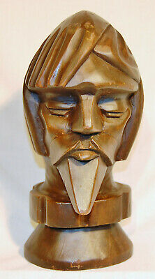 DON QUIXOTE Sculpture Folk Art Wood Carving CARVED WOODEN BUST SPANISH HEAD