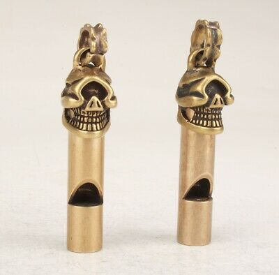 2 Exquisite Chinese Bronze Hand Carved Skull Whistle Pendant Collection Gift