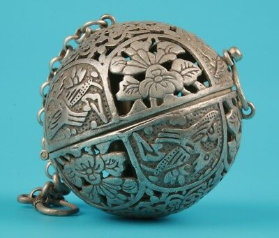 Unique Chinese Tibet Silver Pendant Ball Incense Burner Hollowing Dapeng Mascot
