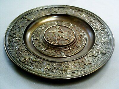 Fine Antique Ornate Neo Classical God/Cherubs & Green Man Cast Iron Plate/Dish