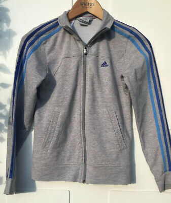 Grey Adidas Tracksuit Jacket Girls 11-12 Years Light Blue And Dark Blue Stripes