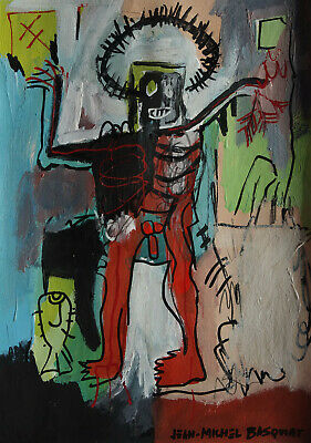 Perfect Neo Expressionist Unique Painting, Basquiat signed & stamped