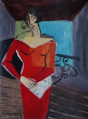 Fine art - Spanish French and Cubism original gouache portrait painting, Signed