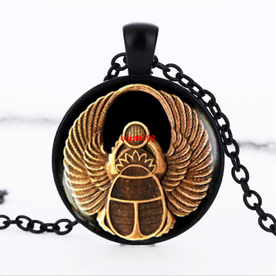 Scarab ancient egypt Egyptian Glass Dome Chain Pendant Necklace jewelry