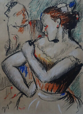 Museum impressionist unique original pastel Dancers painting Marked Signed Degas