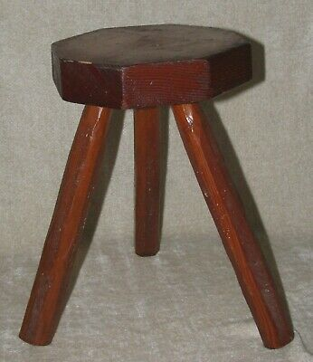 "Rustic 12"" Vintage Handmade Wooden Hexagon Seat 3 Leg STOOL / PLANT STAND"