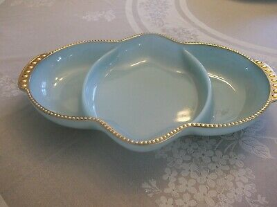 Turquoise Fire King Oven Ware Divided Plate Gold Bubble Rim