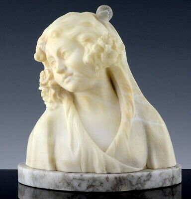 Stunning Antique Art Nouveau Italian Carved Alabaster Stone Bust Of Young Maiden