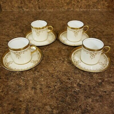 4 RARE Aynsley Demitasse Mocha Cups and Saucers B3233, Gold Encrusted