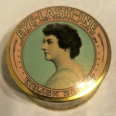 Vintage EYE-LASH-INE Ointment Remedy Lithograph tin dated 1916 Victorian Make Up