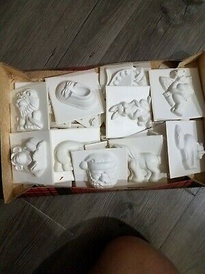 Wilton vintage plastic molds lot of 34 mixed - holiday animals floral candy mold