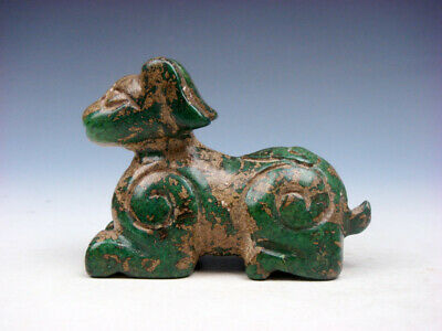 Old Nephrite Jade Stone Carved Sculpture Seated Ancient Beast #07271902