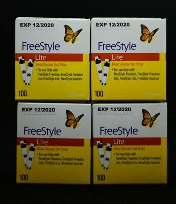 Freestyle Lite Test Strips 400 Ct Exp 12/2020 Brand New Sealed Free Shipping