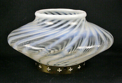 Vintage White Opalescent Swirl Glass Squat Vase with Mounting