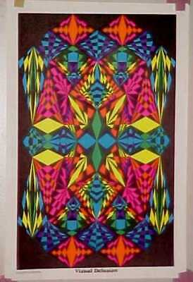 70's Black Light VISUAL DELUSION Small PSYCHEDELIC Poster