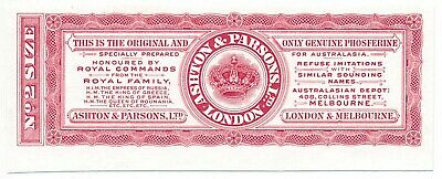 Ashton & Parsons Phosferine label specimen proof in red London Waterlow & Sons