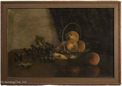 Stunning Antique Still Life Fruit Oil Painting on Canvas, 19th Century, FINE!