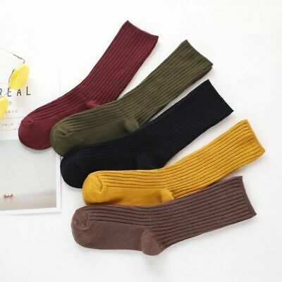 Women Striped Candy Color Hosiery Socks Cotton Crew Tube Warm Fashion Socks UK
