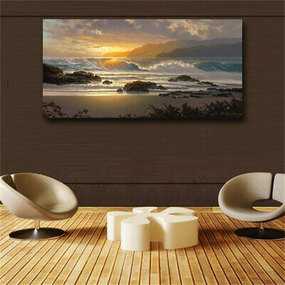 Sunset Beach Landscape Wall Art Canvas Scandinavian Posters and Prints Sea Wave