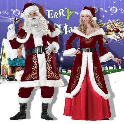 Mens Women Santa Claus Suit Deluxe Father Christmas Xmas Fancy Dress Costume c1