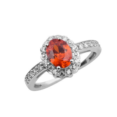 Solid 925 Fine Silver ORANGE ZIRCON Gemstone Solitaire With Accents Ring