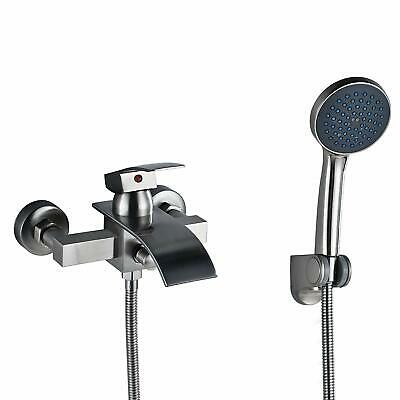 Wall Mounted Brushed Nickel Waterfall Bathtub Faucet With Hand Spray+Tub Spout