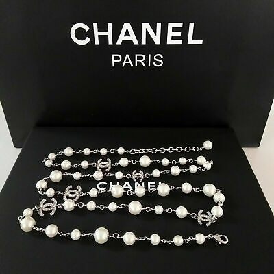 Authentic Chanel Classic 5 CC Logo 18K Glod White Pearl Necklace Sweater 46 New