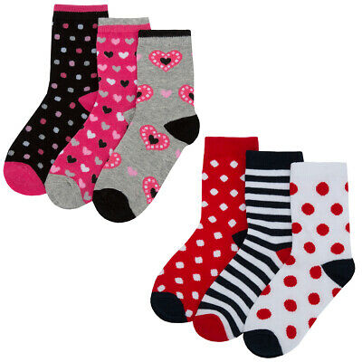Girls Socks 3 or 6 Pack Cotton Rich Animals Design New Multipack Socks All sizes