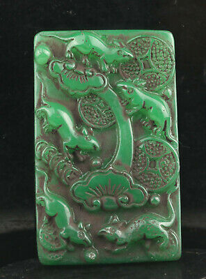 Old Chinese natural jade hand-carved flower and four rat pendant