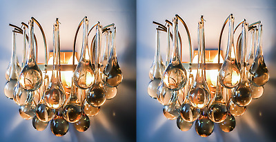 Pair of Christoph Palme (Plawa) Tear Drop Crystal Glass Gilt Brass Sconces 1970s