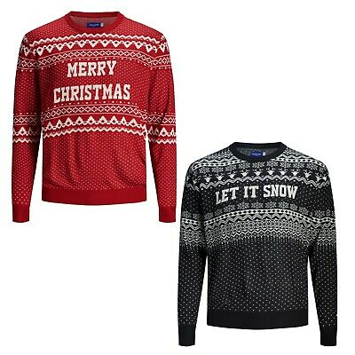 Jack & Jones Mens Plus Size Long Sleeve xmas Knit Jumpers Sweaters Pullover Tops