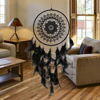 Black Lace Dream Catcher Feather Car Wall Window Hanging Home Ornament Gifts US