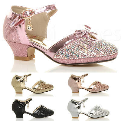 Girls Kids Childrens Low Heel Diamante Bow Buckle Strap Court Shoes Sandals Size