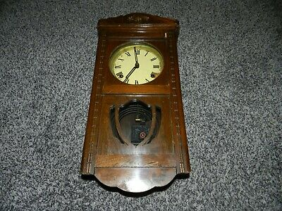 "ANTIQUE WALL CLOCK w/CHIME & BRASS / WOOD PENDULUM in WOOD CASE 19"" H x 8 1/2"" W"