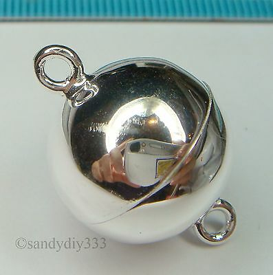 1x STERLING SILVER BRIGHT PLAIN ROUND BALL STRONG MAGNETIC CLASP 18mm #1287