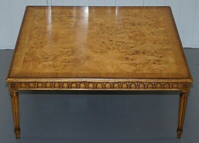 Large Burr Walnut Cocktail Coffee Low Table Nicely Carved Legs Great Patina