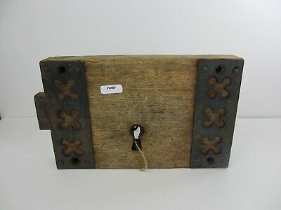 Antique Oak lock Iron Victorian Church Architectural Wood Old Wrought NO KEY