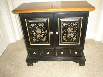 ETHAN ALLEN Hitchcock Style Black Stenciled 14-8216 Entry/Side Table 1970's EUC