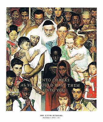 "Norman Rockwell print: THE GOLDEN RULE 11"" x 15"" Jews Muslims Christians"