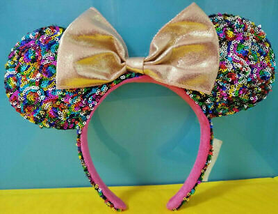 New Disney Parks Gold Minnie Mouse Bow Sequins Headband Bow Kids Holiday Ears