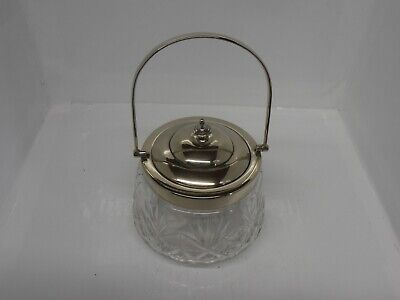 Vintage cut glass biscuit barrel with silver plated lid