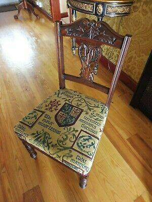 Vintage Pair Dining Chairs/Hall Recovered Heraldic Fabric Perfect Condition