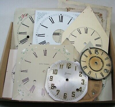 Lot Of Antique Kitchen Parlor Mantel Og Clock Dials Bezels Parts Repair