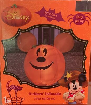 NEW RARE DISNEY HALLOWEEN MICKEY MOUSE PUMPKIN AIRBLOWN INFLATABLE LIGHTS UP 3ft