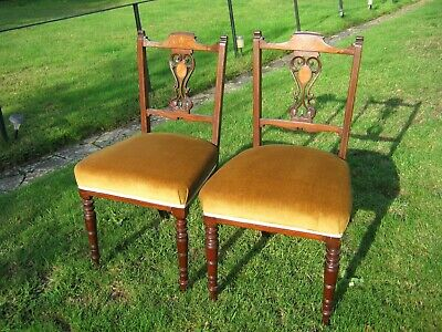 Inlaid Mahogany Dining Chairs - Sprung Seats - Edwardian - A Pair in Gold Dralon