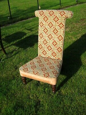 Rosewood Prie Dieu (Prayer Chair) - Victorian - Brass Castors - Nicely Covered