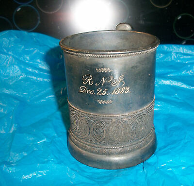 1883 Wilcox quadruple silver plate mug # 1381 engraved R.N.L. Dec. 25 1883